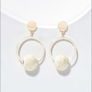 LOFT Straw Ball Hoop Earrings